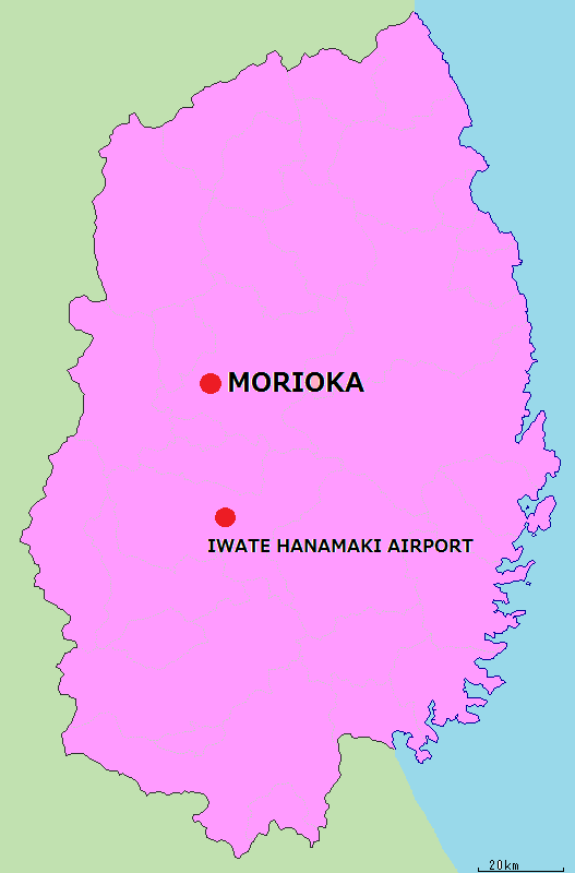 岩手県地図英語版空港